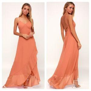 Lulu's Ada Rusty Rose Lace Up Maxi Dress